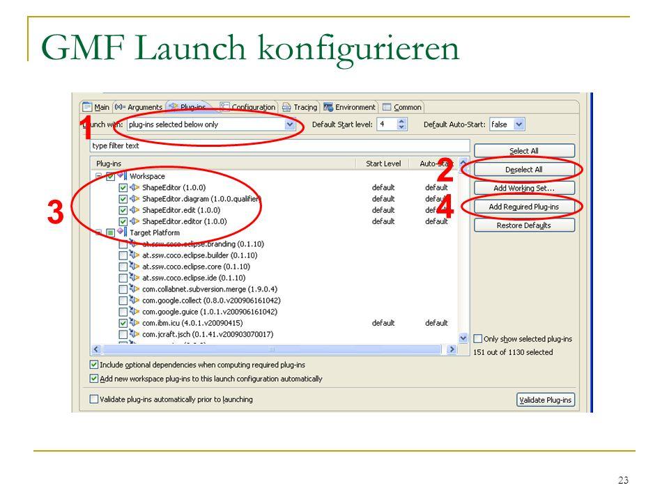 23 GMF Launch konfigurieren 1 3 2 4