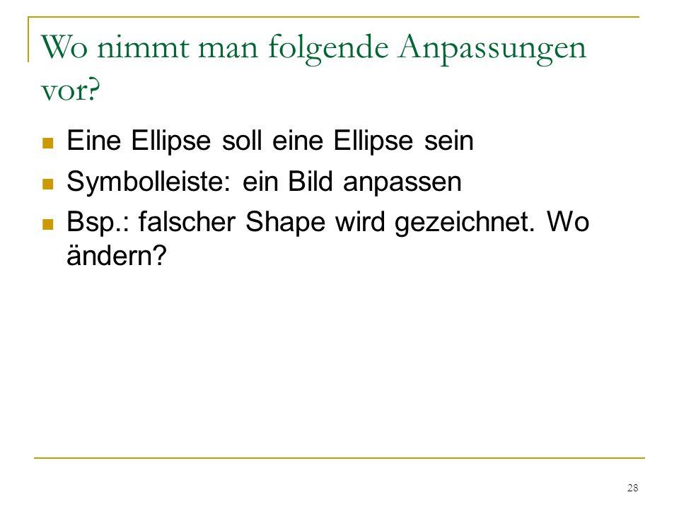 28 Wo nimmt man folgende Anpassungen vor? Eine Ellipse soll eine Ellipse sein Symbolleiste: ein Bild anpassen Bsp.: falscher Shape wird gezeichnet. Wo