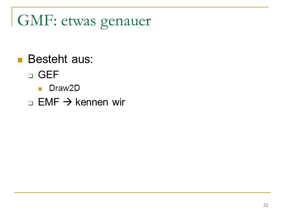 32 GMF: etwas genauer Besteht aus: GEF Draw2D EMF kennen wir