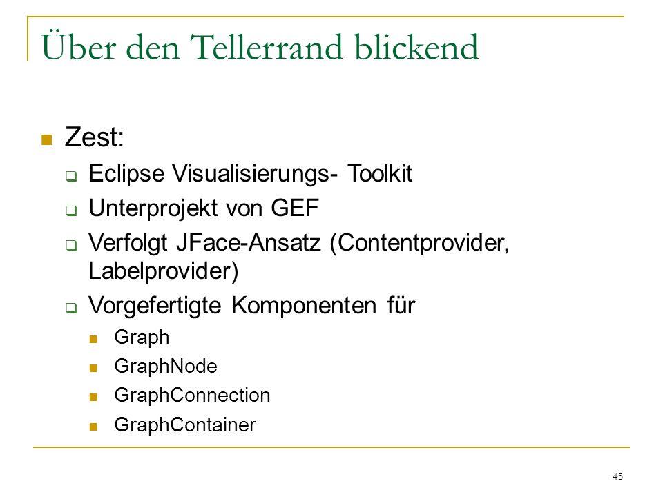 45 Über den Tellerrand blickend Zest: Eclipse Visualisierungs- Toolkit Unterprojekt von GEF Verfolgt JFace-Ansatz (Contentprovider, Labelprovider) Vor