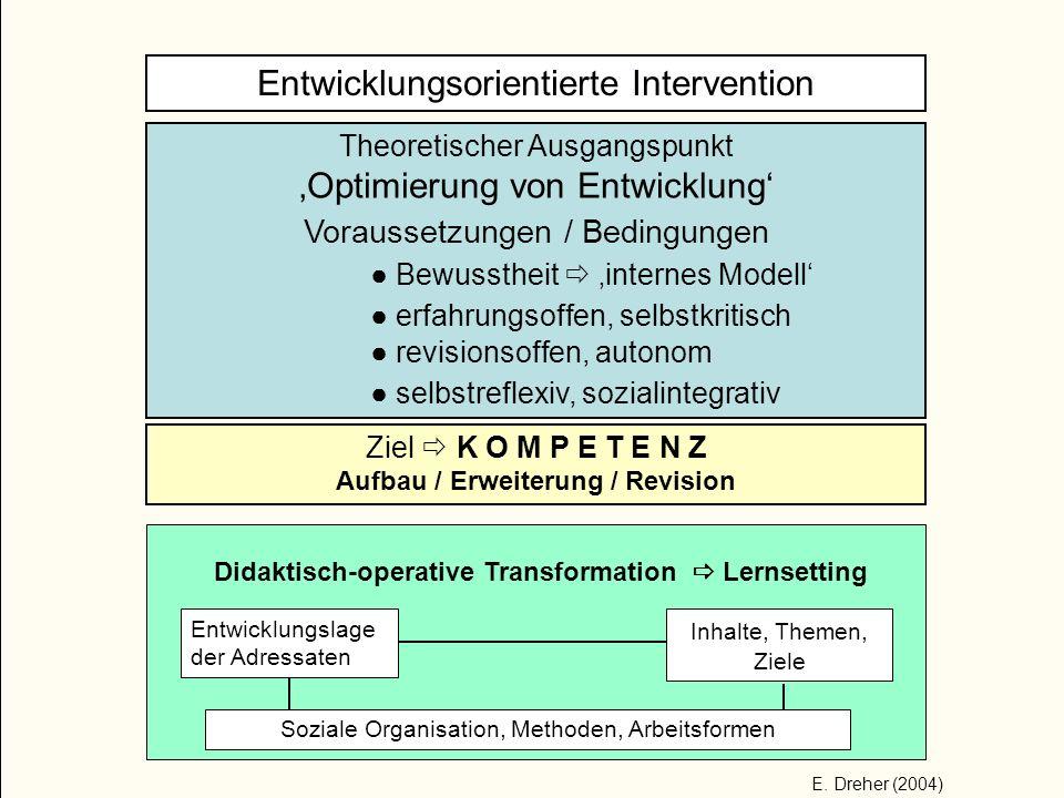 Entwicklungsorientierte Intervention Theoretischer Ausgangspunkt Optimierung von Entwicklung Voraussetzungen / Bedingungen Bewusstheit internes Modell