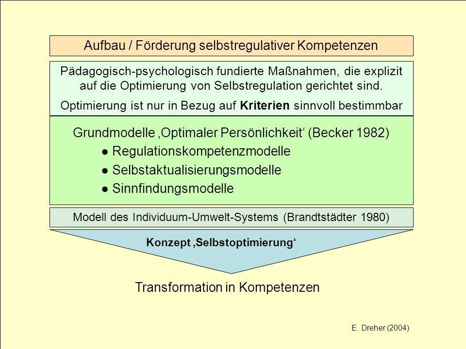 Aufbau / Förderung selbstregulativer Kompetenzen Pädagogisch-psychologisch fundierte Maßnahmen, die explizit auf die Optimierung von Selbstregulation
