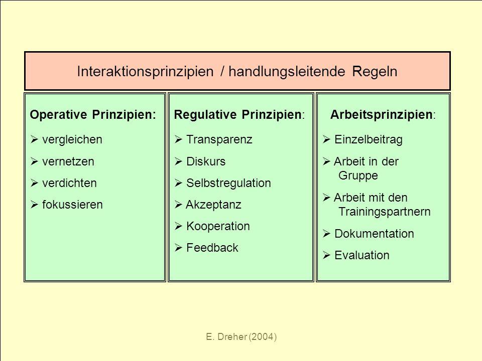 E. Dreher (2004) Interaktionsprinzipien / handlungsleitende Regeln Operative Prinzipien: vergleichen vernetzen verdichten fokussieren Regulative Prinz