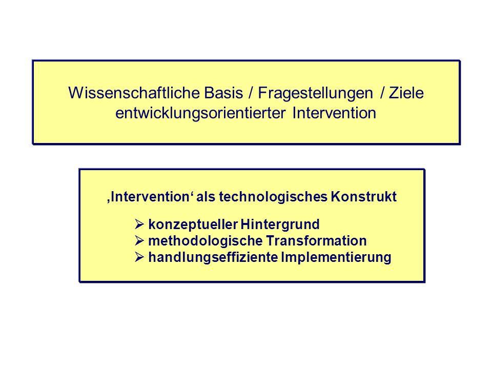 Wissenschaftliche Basis / Fragestellungen / Ziele entwicklungsorientierter Intervention Intervention als technologisches Konstrukt konzeptueller Hinte