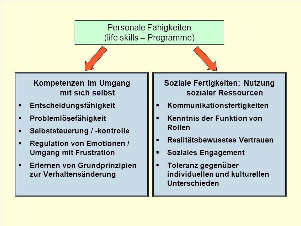 Kompetenzen im Umgang mit sich selbst Entscheidungsfähigkeit Problemlösefähigkeit Selbststeuerung / -kontrolle Regulation von Emotionen / Umgang mit F