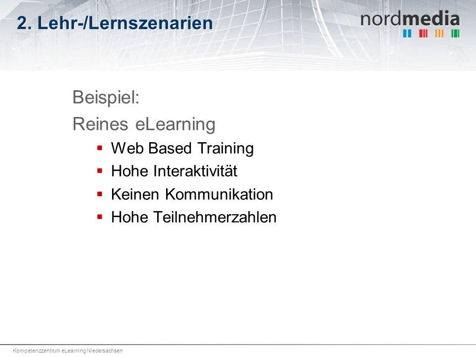 Kompetenzzentrum eLearning Niedersachsen 2. Lehr-/Lernszenarien Beispiel: Reines eLearning Web Based Training Hohe Interaktivität Keinen Kommunikation