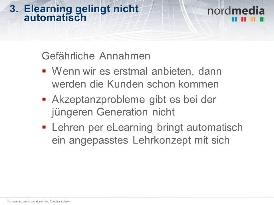 Kompetenzzentrum eLearning Niedersachsen 3.Elearning gelingt nicht automatisch Gefährliche Annahmen Wenn wir es erstmal anbieten, dann werden die Kund