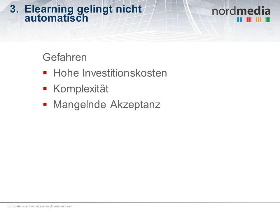 Kompetenzzentrum eLearning Niedersachsen 3.Elearning gelingt nicht automatisch Gefahren Hohe Investitionskosten Komplexität Mangelnde Akzeptanz