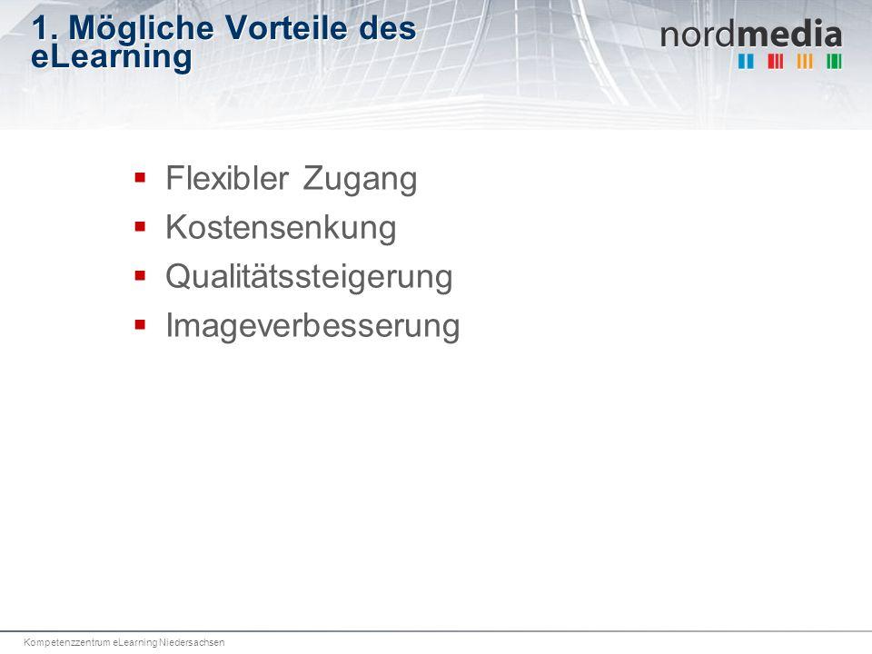 Kompetenzzentrum eLearning Niedersachsen 1. Mögliche Vorteile des eLearning Flexibler Zugang Kostensenkung Qualitätssteigerung Imageverbesserung