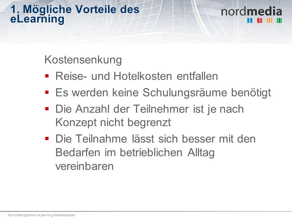 Kompetenzzentrum eLearning Niedersachsen 1. Mögliche Vorteile des eLearning Kostensenkung Reise- und Hotelkosten entfallen Es werden keine Schulungsrä