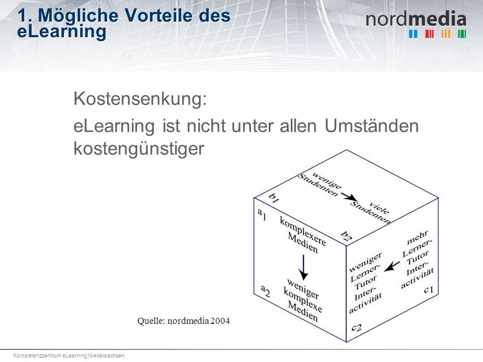 Kompetenzzentrum eLearning Niedersachsen 1. Mögliche Vorteile des eLearning Kostensenkung: eLearning ist nicht unter allen Umständen kostengünstiger Q