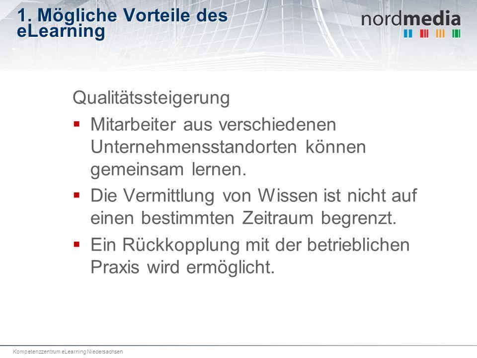 Kompetenzzentrum eLearning Niedersachsen 1. Mögliche Vorteile des eLearning Qualitätssteigerung Mitarbeiter aus verschiedenen Unternehmensstandorten k