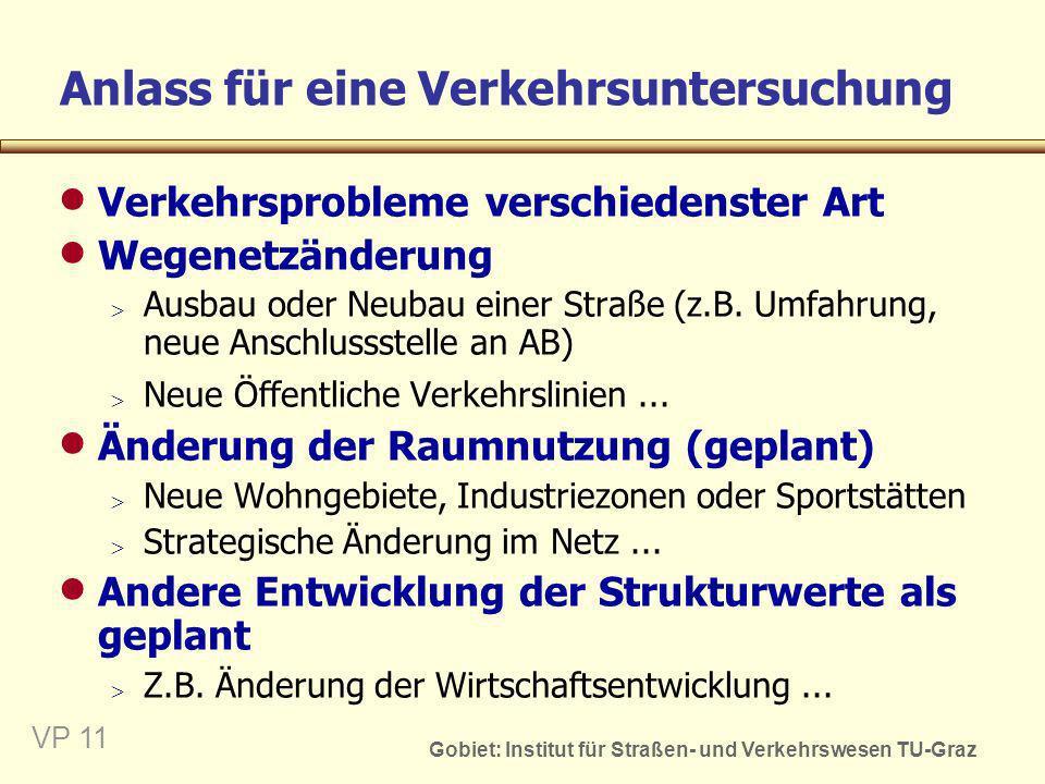 Gobiet: Institut für Straßen- und Verkehrswesen TU-Graz VP 11 Anlass für eine Verkehrsuntersuchung Verkehrsprobleme verschiedenster Art Wegenetzänderu
