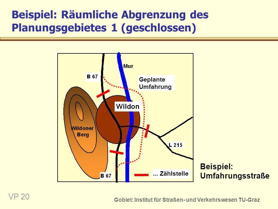 Gobiet: Institut für Straßen- und Verkehrswesen TU-Graz VP 21 Beispiel: Räumliche Abgrenzung des Planungsgebietes 2 (offen) Beispiel: Anschluss an das übergeordnete Wegenetz