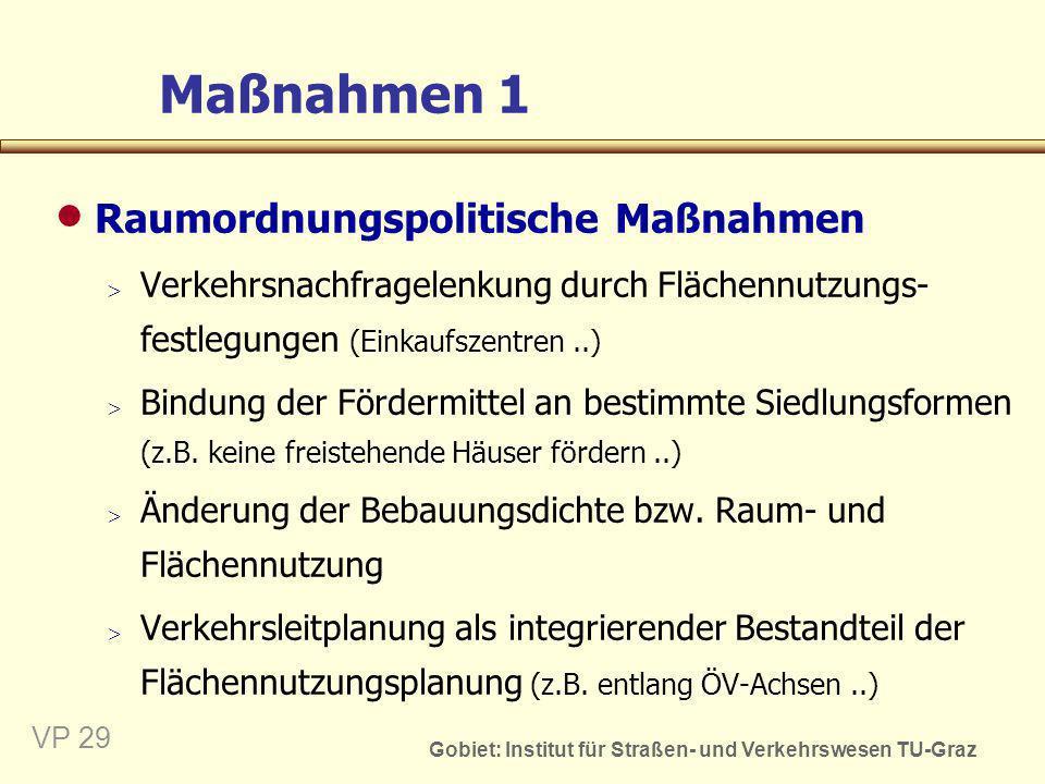 Gobiet: Institut für Straßen- und Verkehrswesen TU-Graz VP 30 Maßnahmen 2 Verkehrsinfrastrukturelle Maßnahmen Infrastrukturseitige Angebotsverbesserung im den ÖV und Nichtmotorisierten Verkehr, im kombinierten Verkehr oder auch im MIV (ÖV-Netz-erweiterung, Busfahrstreifen, Radwege, Umfahrun-gen..) Umgestaltung des (innerörtlichen) Verkehrsraumes (Fußgängerzonen, Wohnstraßen, Aufpflasterungen..) Umgestaltung der Fahrbahnoberfläche (Drainasphalt = Flüsterasphalt..)
