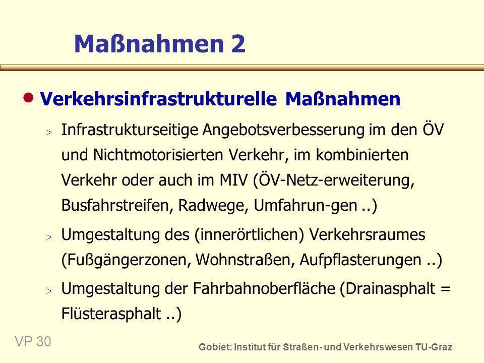 Gobiet: Institut für Straßen- und Verkehrswesen TU-Graz VP 31 Maßnahmen 3 Verkehrsorganisatorische Maßnahmen Verkehrsführung z.B.
