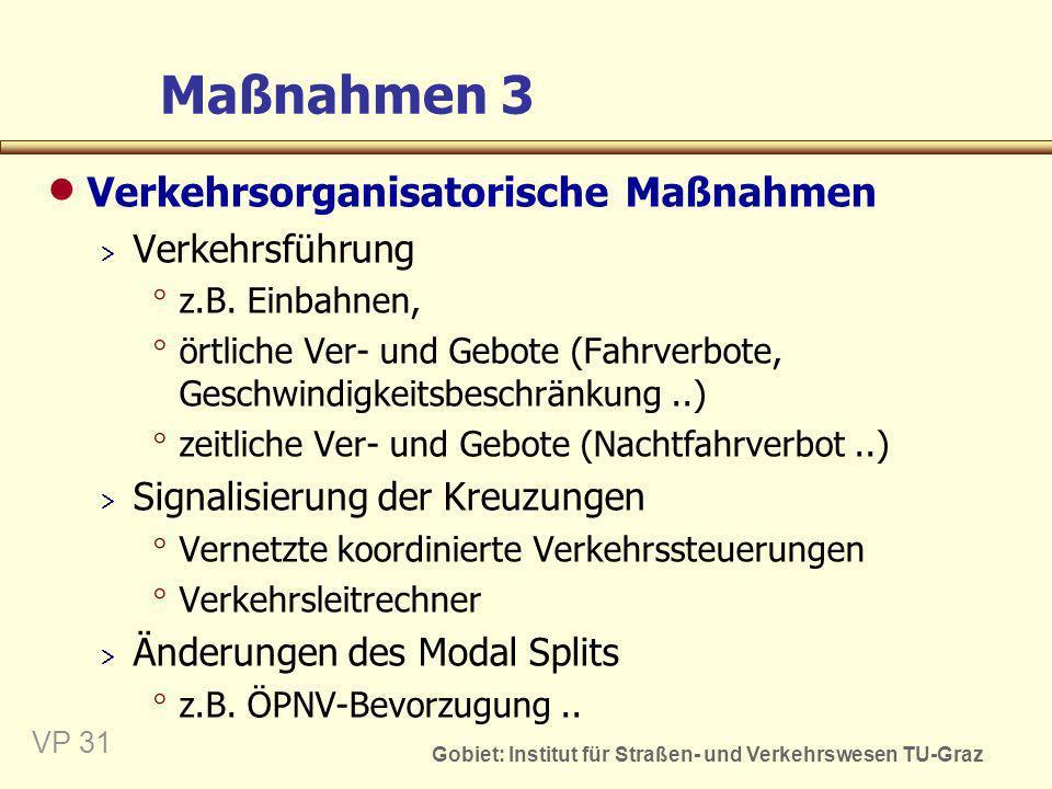 Gobiet: Institut für Straßen- und Verkehrswesen TU-Graz VP 31 Maßnahmen 3 Verkehrsorganisatorische Maßnahmen Verkehrsführung z.B. Einbahnen, örtliche