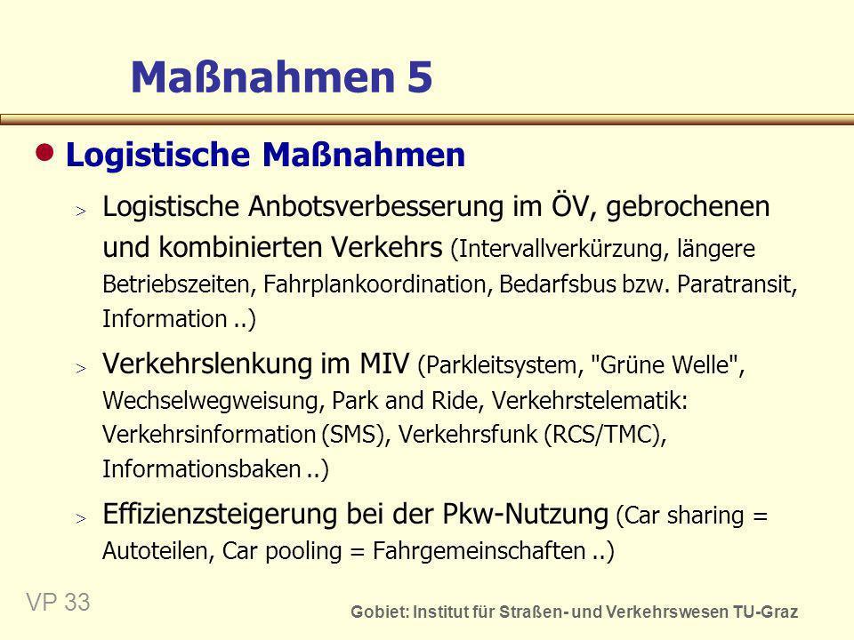 Gobiet: Institut für Straßen- und Verkehrswesen TU-Graz VP 33 Maßnahmen 5 Logistische Maßnahmen Logistische Anbotsverbesserung im ÖV, gebrochenen und