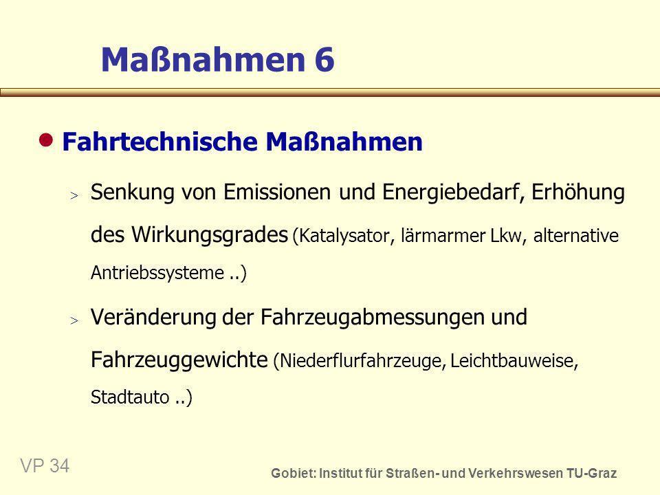 Gobiet: Institut für Straßen- und Verkehrswesen TU-Graz VP 35 Maßnahmen 7 Verkehrsordnungspolitische Maßnahmen Örtliche und zeitliche Fahrverbote (Gewichtsbeschränkung, Nachtfahrverbot, Fußgängerzonen..) Tempolimits Parkraumkontingentierung Emissions-(grenzwert)reduktion (Lärm, Abgase) Treibstoffrationierung Fahrleistungskontingentierung (Ökopunkte..) Erhöhung der Verkehrssicherheit (Stufenführerschein, Senkung des erlaubten Blutalkoholgehalts beim Fahren)