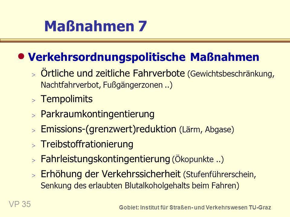 Gobiet: Institut für Straßen- und Verkehrswesen TU-Graz VP 35 Maßnahmen 7 Verkehrsordnungspolitische Maßnahmen Örtliche und zeitliche Fahrverbote (Gew