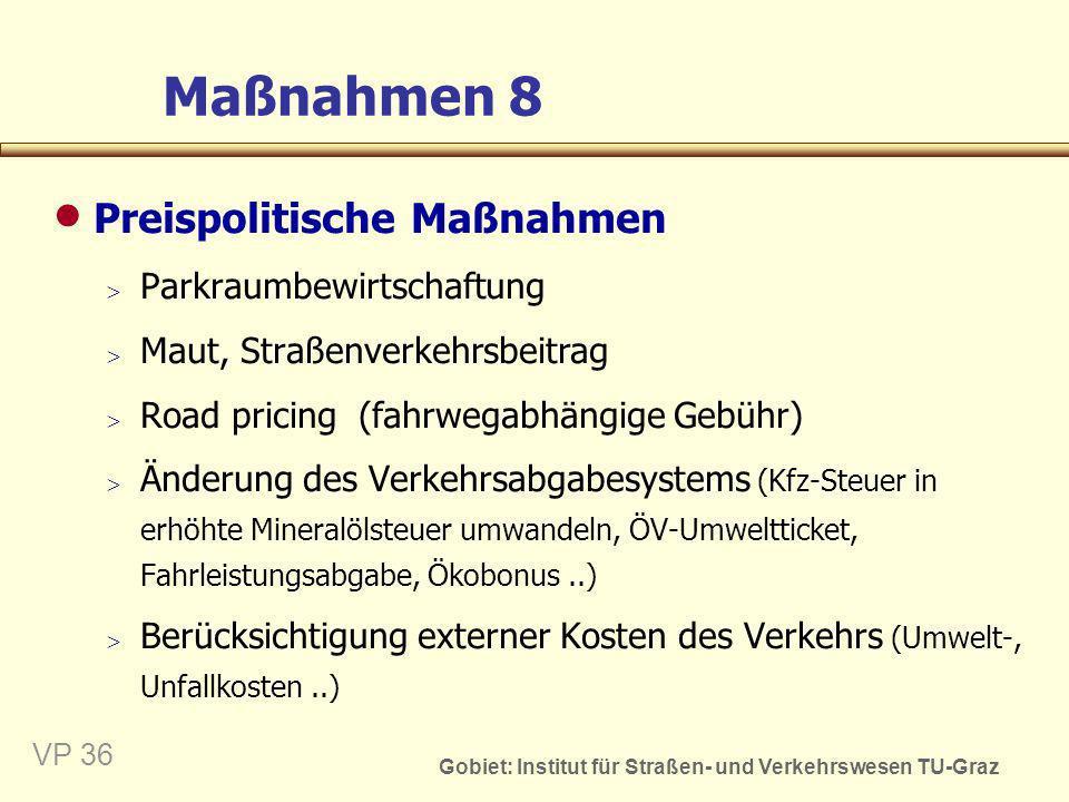 Gobiet: Institut für Straßen- und Verkehrswesen TU-Graz VP 37 Maßnahmen 9 Sonstige verhaltenssteuernde Maßnahmen Steigerung des öffentlichen Bewusstseins Öffentlichkeitsarbeit Bürgerbeteiligung Vorbildliche Projekte fördern Wettbewerbe..