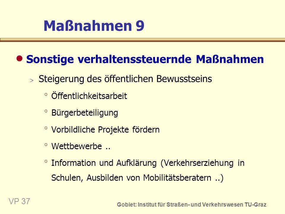 Gobiet: Institut für Straßen- und Verkehrswesen TU-Graz VP 38 Verkehrs- untersuchung Problemanalyse: (Mängel - Zustand - Ziele) Beurteilen der Maßnahmen/ Planungsvarianten Entwickeln von Maß- nahmen/Planungsvarianten Ermitteln der Auswirkungen der Maßnahmen