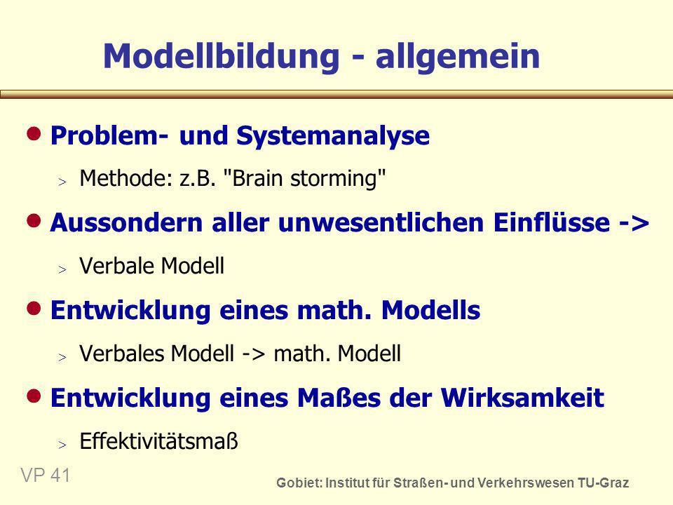 Gobiet: Institut für Straßen- und Verkehrswesen TU-Graz VP 42 Modellbildung Identifikation der Ursache-Wirkungs- Zusammenhänge Grundlage: Analysedaten Erarbeitung von Modellansätzen Kalibrieren des Modells Überprüfen der Modellansätzen Testen des Modells Beschreiben des Zustands mittels des Modells