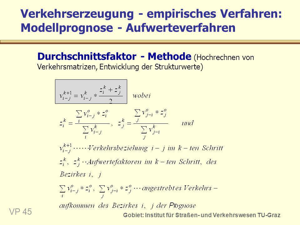 Gobiet: Institut für Straßen- und Verkehrswesen TU-Graz VP 45 Verkehrserzeugung - empirisches Verfahren: Modellprognose - Aufwerteverfahren Durchschni
