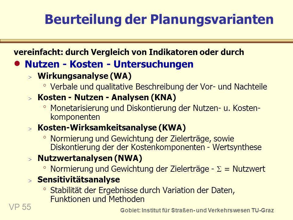 Gobiet: Institut für Straßen- und Verkehrswesen TU-Graz VP 55 Beurteilung der Planungsvarianten vereinfacht: durch Vergleich von Indikatoren oder durc