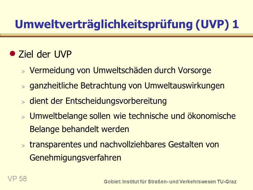 Gobiet: Institut für Straßen- und Verkehrswesen TU-Graz VP 59 Umweltverträglichkeitsprüfung (UVP) 2 Systematisches Prüfverfahren Aufgaben der UVP Feststellung mittelbare und unmittelbare Auswirkungen eines Vorhaben auf die Umwelt Prüfung der Maßnahmen zur Verhinderung bzw.