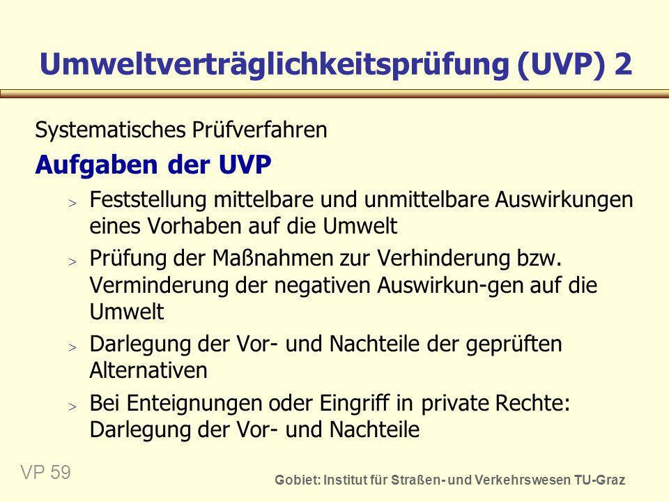 Gobiet: Institut für Straßen- und Verkehrswesen TU-Graz VP 59 Umweltverträglichkeitsprüfung (UVP) 2 Systematisches Prüfverfahren Aufgaben der UVP Fest
