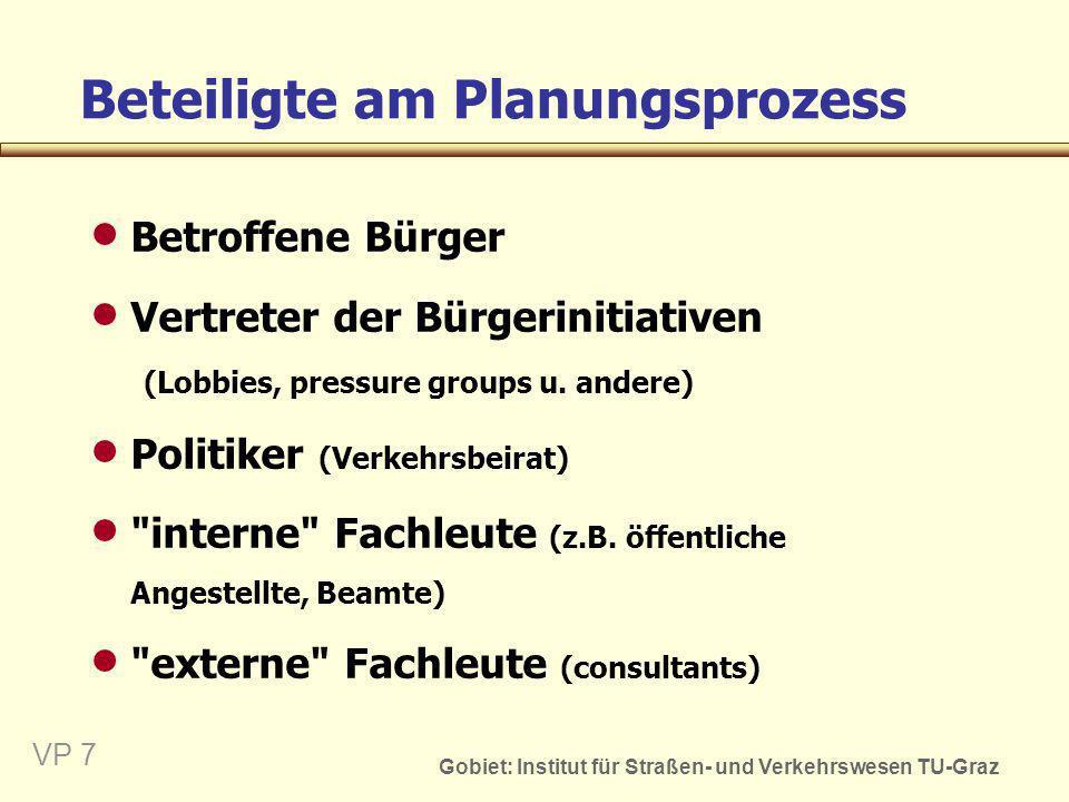 Gobiet: Institut für Straßen- und Verkehrswesen TU-Graz VP 7 Beteiligte am Planungsprozess Betroffene Bürger Vertreter der Bürgerinitiativen (Lobbies,