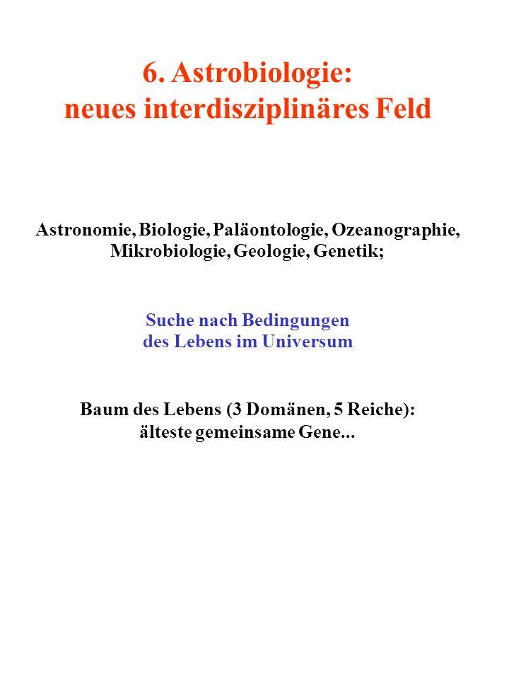 6. Astrobiologie: neues interdisziplinäres Feld Astronomie, Biologie, Paläontologie, Ozeanographie, Mikrobiologie, Geologie, Genetik; Suche nach Bedin