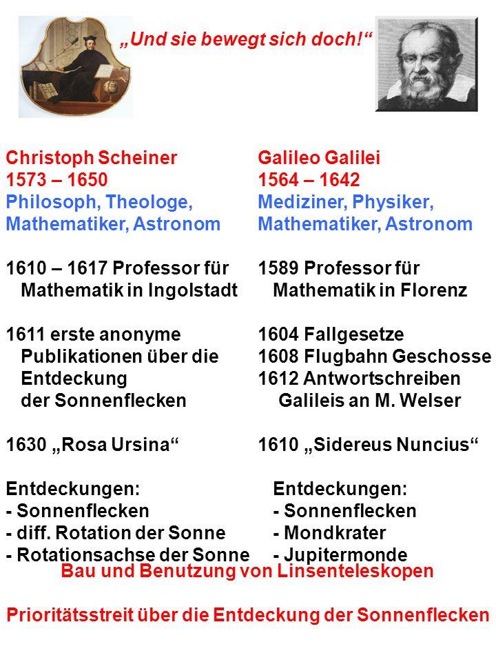 Und sie bewegt sich doch! Christoph Scheiner 1573 – 1650 Philosoph, Theologe, Mathematiker, Astronom 1610 – 1617 Professor für Mathematik in Ingolstad