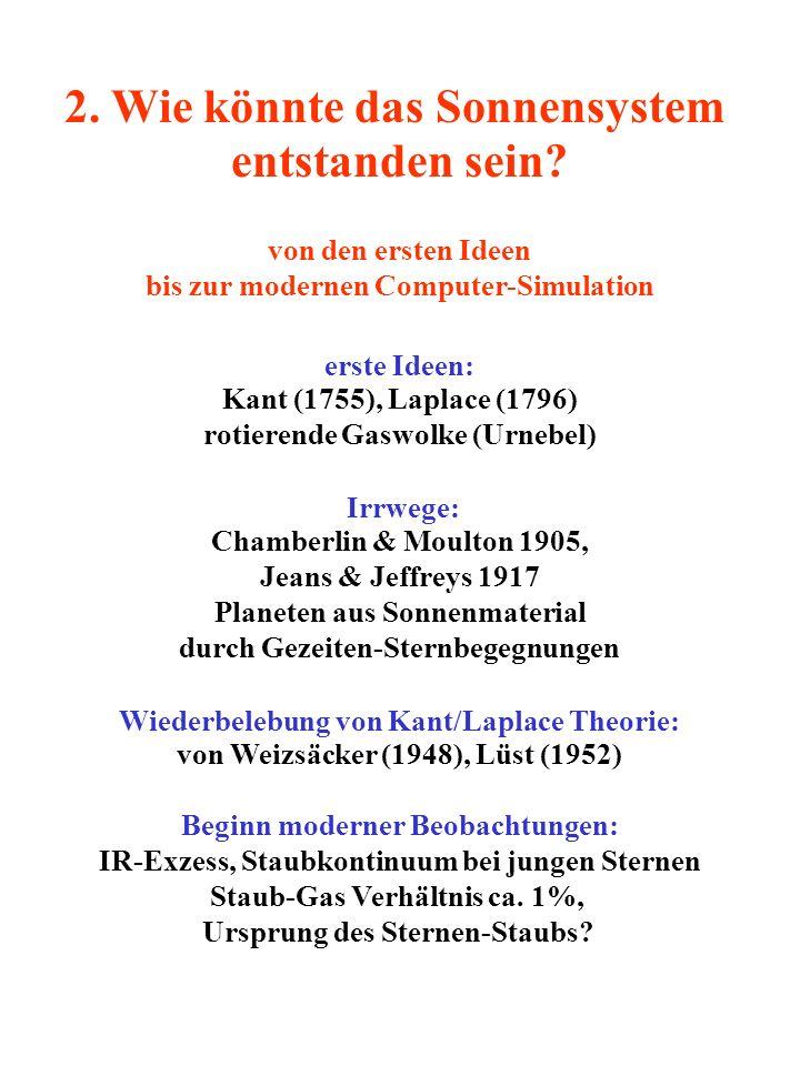2. Wie könnte das Sonnensystem entstanden sein? von den ersten Ideen bis zur modernen Computer-Simulation erste Ideen: Kant (1755), Laplace (1796) rot