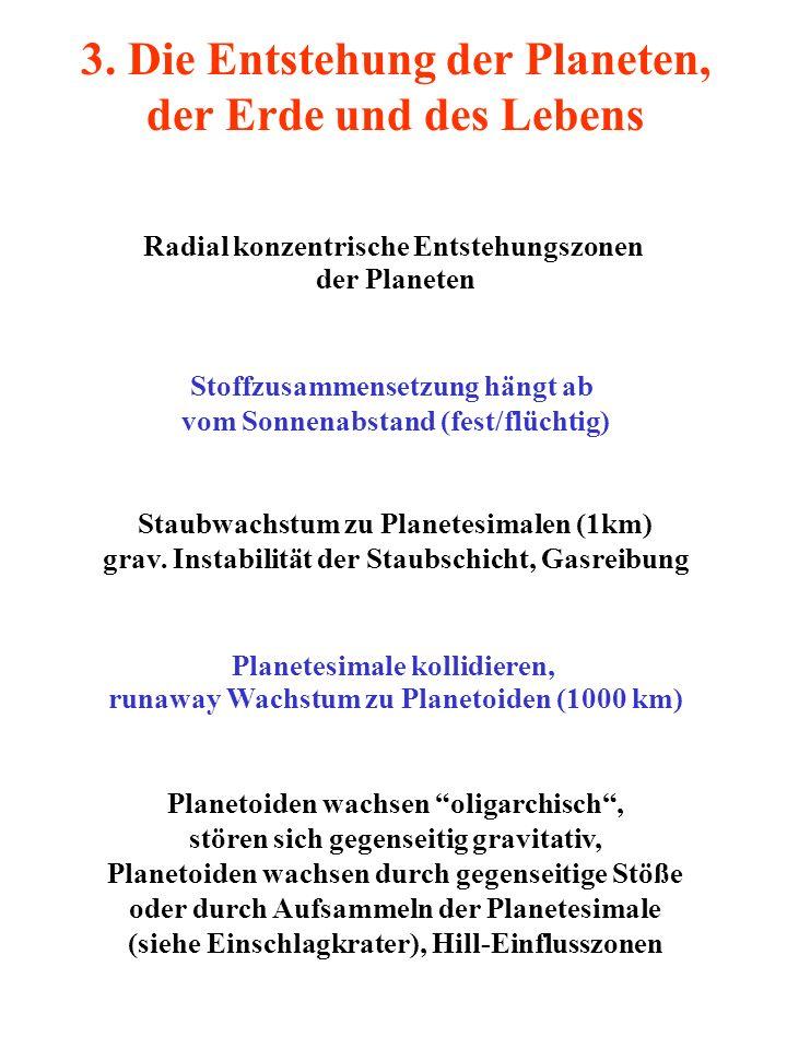 3. Die Entstehung der Planeten, der Erde und des Lebens Radial konzentrische Entstehungszonen der Planeten Stoffzusammensetzung hängt ab vom Sonnenabs
