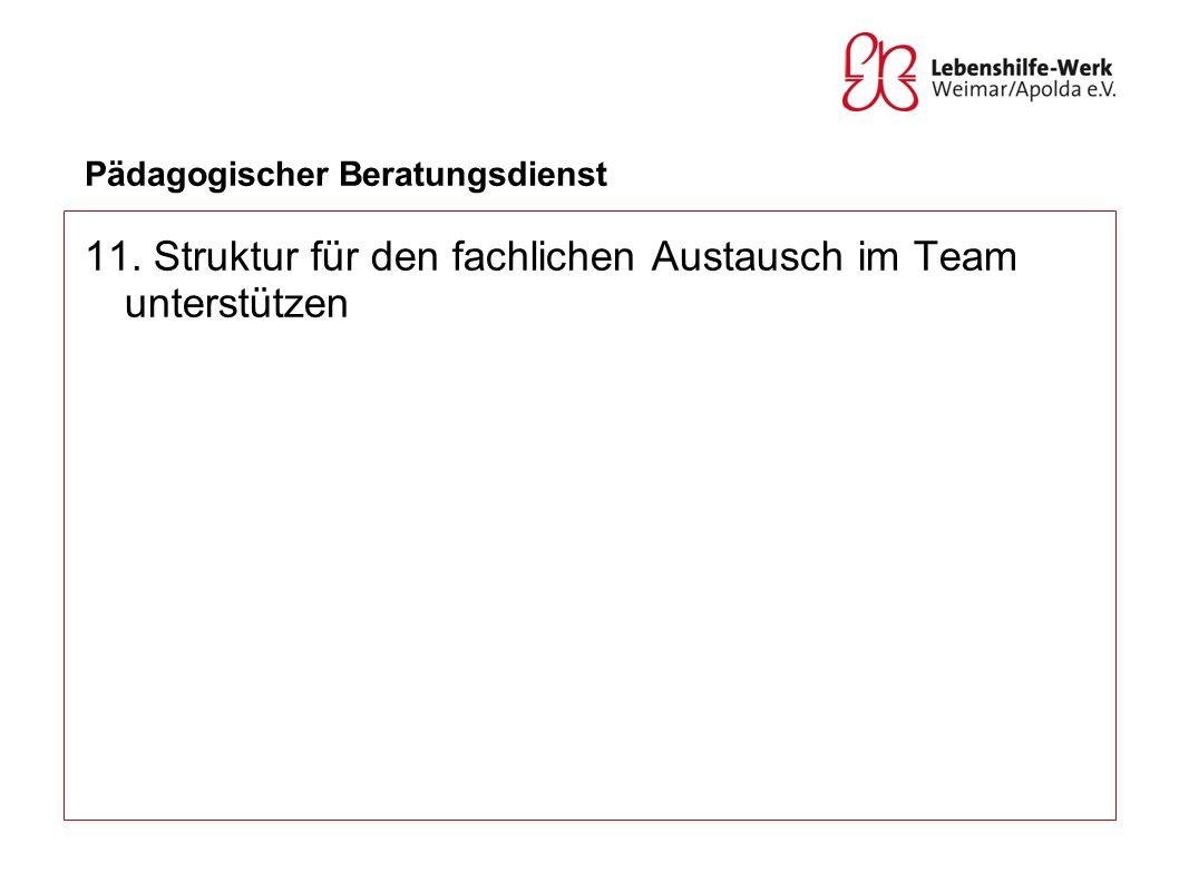 Pädagogischer Beratungsdienst 11. Struktur für den fachlichen Austausch im Team unterstützen