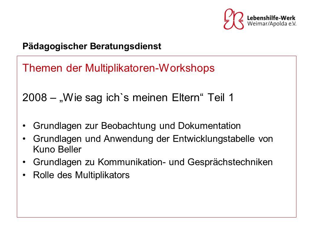 Pädagogischer Beratungsdienst Themen der Multiplikatoren-Workshops 2008 – Wie sag ich`s meinen Eltern Teil 1 Grundlagen zur Beobachtung und Dokumentat