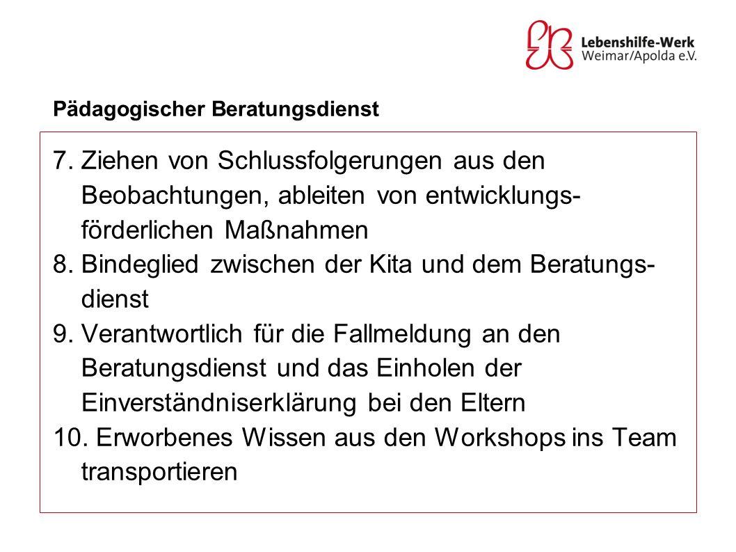 Pädagogischer Beratungsdienst 7. Ziehen von Schlussfolgerungen aus den Beobachtungen, ableiten von entwicklungs- förderlichen Maßnahmen 8. Bindeglied