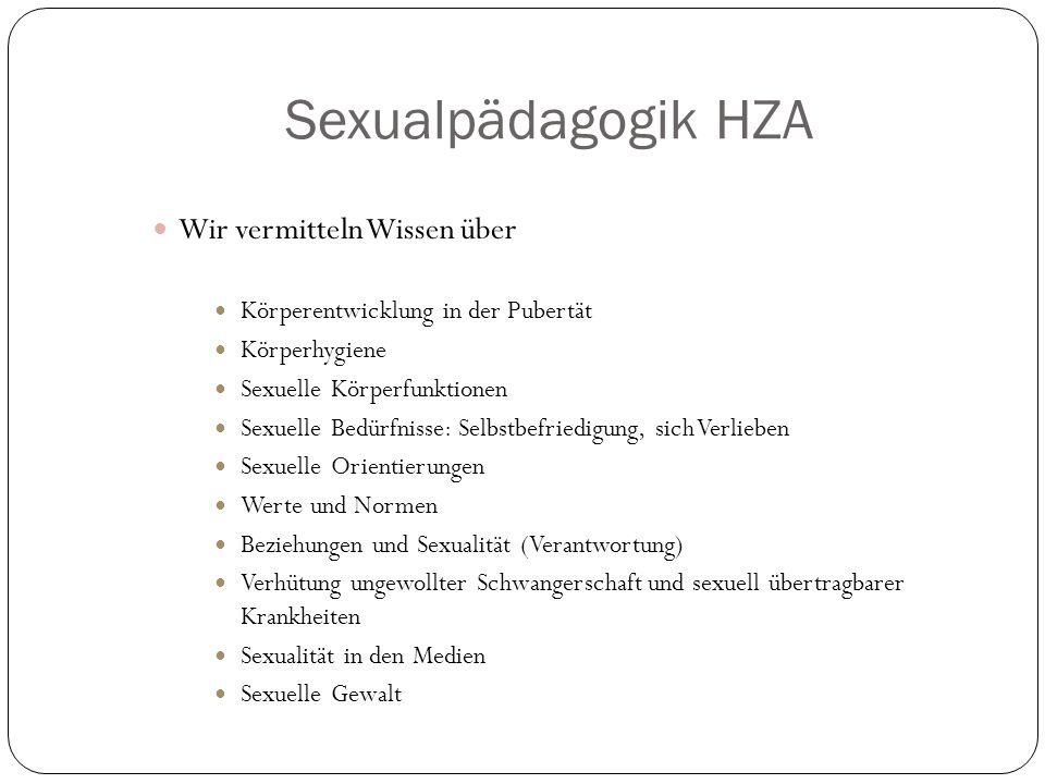 Sexualpädagogik HZA Wir vermitteln Wissen über Körperentwicklung in der Pubertät Körperhygiene Sexuelle Körperfunktionen Sexuelle Bedürfnisse: Selbstbefriedigung, sich Verlieben Sexuelle Orientierungen Werte und Normen Beziehungen und Sexualität (Verantwortung) Verhütung ungewollter Schwangerschaft und sexuell übertragbarer Krankheiten Sexualität in den Medien Sexuelle Gewalt