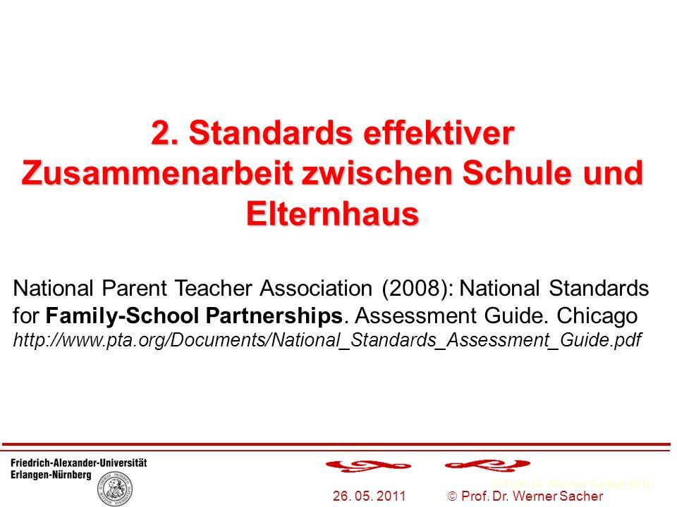 Prof. Dr. Werner Sacher 2010 26. 05. 2011 Prof. Dr. Werner Sacher 2. Standards effektiver Zusammenarbeit zwischen Schule und Elternhaus National Paren