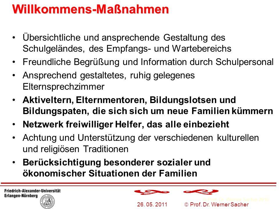 Prof. Dr. Werner Sacher 2010 26. 05. 2011 Prof. Dr. Werner Sacher Willkommens-Maßnahmen Willkommens-Maßnahmen Übersichtliche und ansprechende Gestaltu