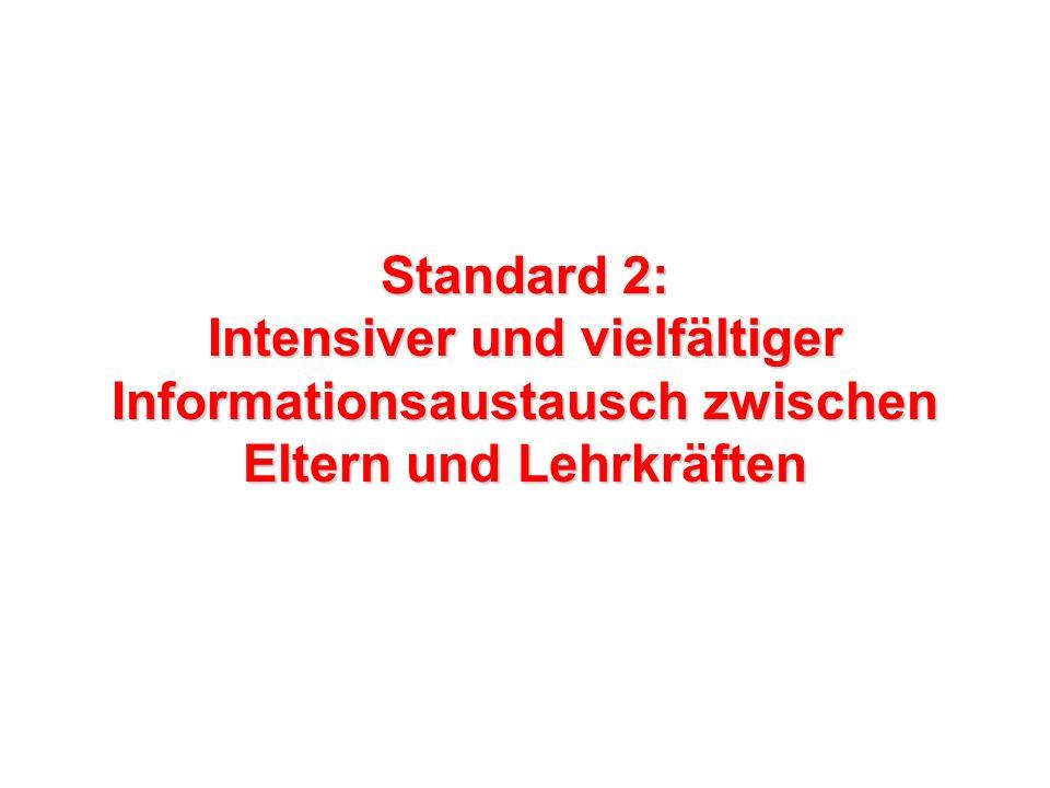 Standard 2: Intensiver und vielfältiger Informationsaustausch zwischen Eltern und Lehrkräften
