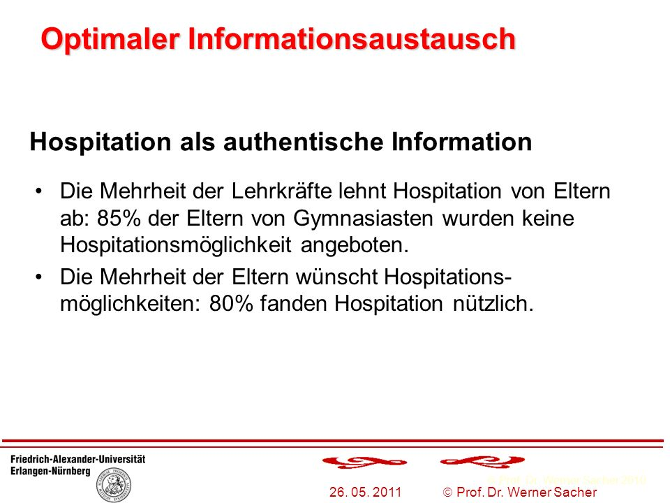 Prof. Dr. Werner Sacher 2010 26. 05. 2011 Prof. Dr. Werner Sacher Optimaler Informationsaustausch Hospitation als authentische Information Die Mehrhei