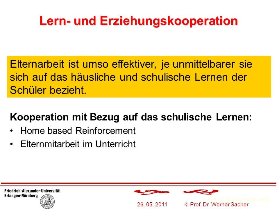 Prof. Dr. Werner Sacher 2010 26. 05. 2011 Prof. Dr. Werner Sacher Lern- und Erziehungskooperation Kooperation mit Bezug auf das schulische Lernen: Hom