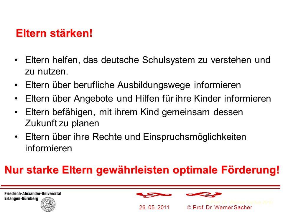 Prof. Dr. Werner Sacher 2010 26. 05. 2011 Prof. Dr. Werner Sacher Eltern helfen, das deutsche Schulsystem zu verstehen und zu nutzen. Eltern über beru