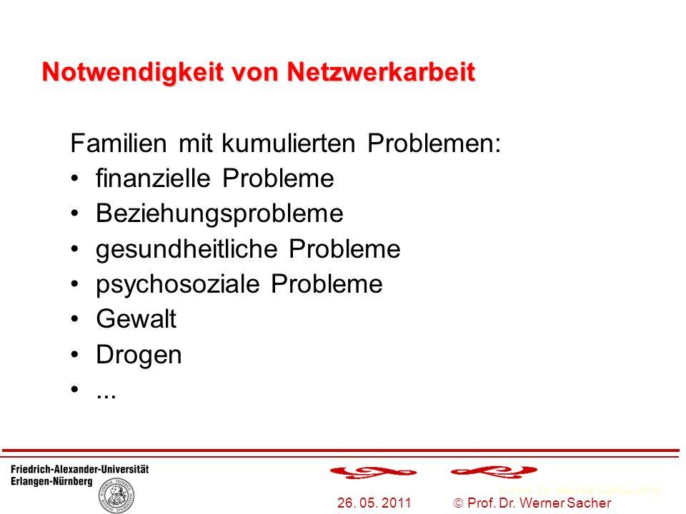 Prof. Dr. Werner Sacher 2010 26. 05. 2011 Prof. Dr. Werner Sacher Familien mit kumulierten Problemen: finanzielle Probleme Beziehungsprobleme gesundhe