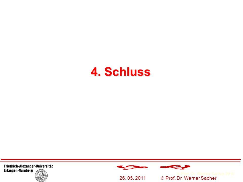 Prof. Dr. Werner Sacher 2010 26. 05. 2011 Prof. Dr. Werner Sacher 4. Schluss