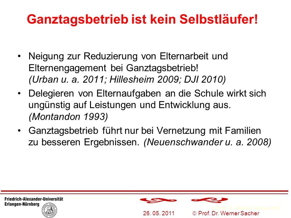 Prof. Dr. Werner Sacher 2010 26. 05. 2011 Prof. Dr. Werner Sacher Ganztagsbetrieb ist kein Selbstläufer! Neigung zur Reduzierung von Elternarbeit und