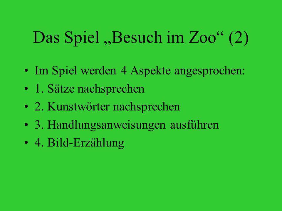 Das Spiel Besuch im Zoo (2) Im Spiel werden 4 Aspekte angesprochen: 1.